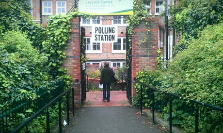 A polling station at the Laycock Centre in Islington, London, on 3 May 2012. Photograph: Paul Owen