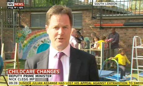 Nick Clegg launching plans to extend pre-school childcare