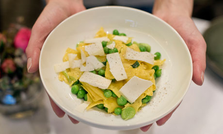Angela Hartnett's pea, broad bean and goat's cheese pappardelle