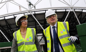 Boris Johnson at the Olympic site