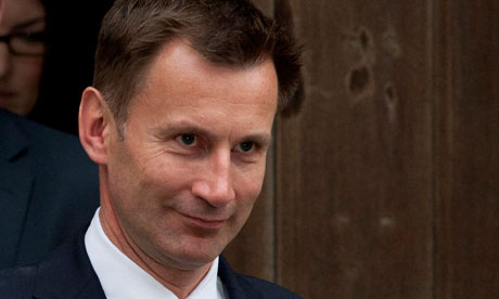Culture Secretary Jeremy Hunt after attending Leveson Inquiry 31 May 2012