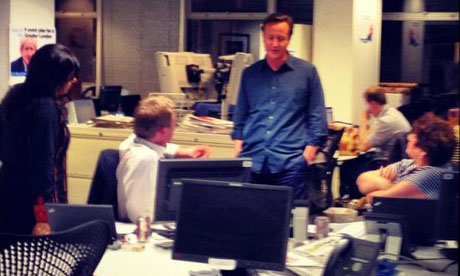 David Cameron with staff at Conservative HQ during local elections