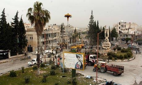 Scene of a bombing in Idlib, Syria