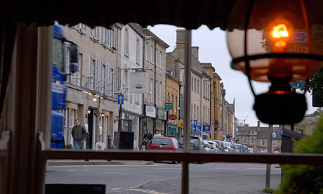 The high street in Chipping Norton, seen from the Blue Boar public house