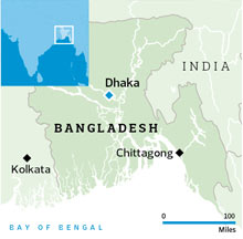 Location of Chittagong in Bangladesh