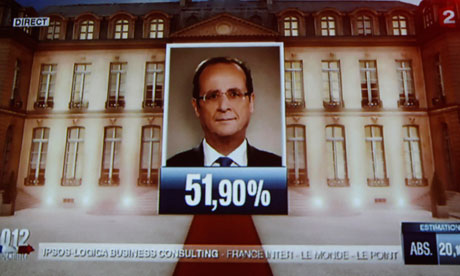 The face of the newly-elected French President Francois Hollande