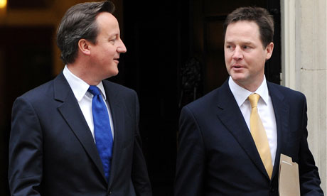Prime minister Cameron and his deputy Clegg leave London for Essex