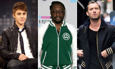 Justin Bieber,  Will.i.am and Jude Law in bomber jackets