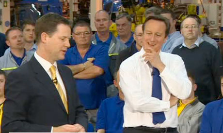 David Cameron and Nick Clegg in tractor factory in Basildon, Essex