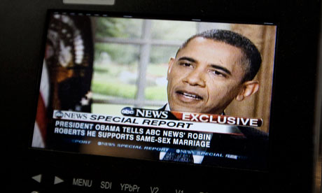 Barack Obama supports gay marriage. President Obama on a monitor in the ...