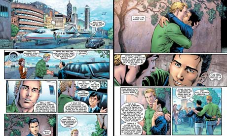 Green Lantern as a gay man in DC Comics's Earth 2. Click for full image.