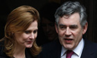 Gordon Brown and wife Sarah leave the Leveson inquiry
