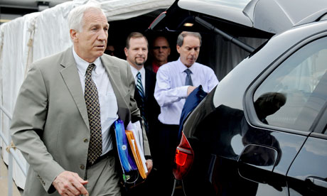 Jerry Sandusky walks out of court