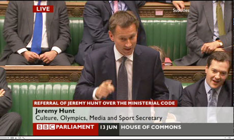 Jeremy Hunt in the debate on his conduct.