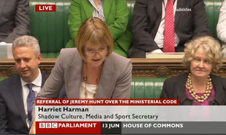 Harriet Harman speaking in the debate on Jeremy Hunt.