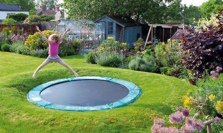 flower gardens ideas on more bounce to the ounce sink a trampoline into the ground and - Garden Design With Trampoline
