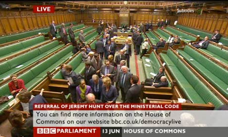 MPs going to vote on the motion about Jeremy Hunt.