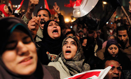 Egyptian women celebrate the resignation of President Mubara