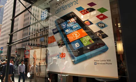 Nokia's Lumia smartphone, which uses Microsoft software, on sale in New York