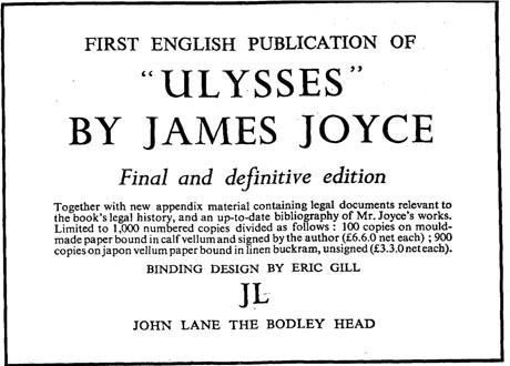 1936 advert for Ulysses