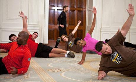 Michelle Obama exercising