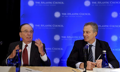 Rupert Murdoch and Tony Blair attend news conference for Atlantic Council Gala