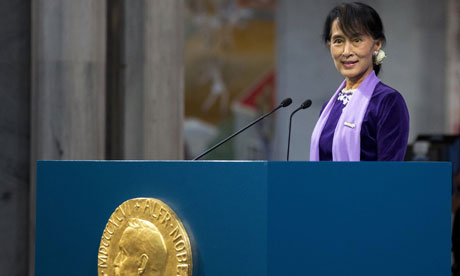 Aung San Suu Kyi delivers her speech during the Nobel peace prize ceremony in Oslo