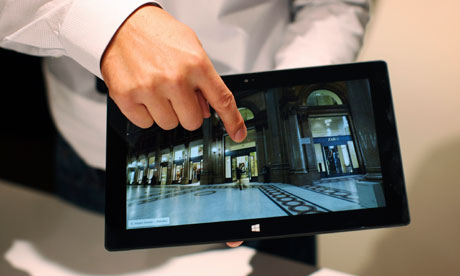 Microsoft Surface: A Microsoft representative scrolls the screen of the new Surface tablet