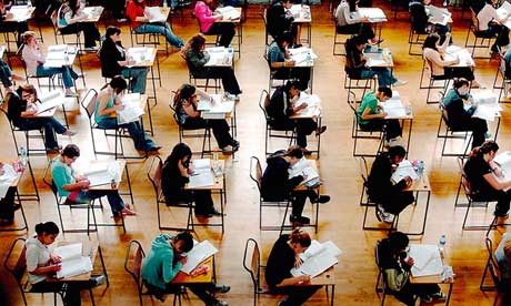 A-level students in exam hall
