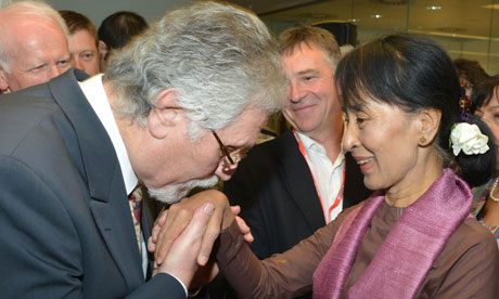 Dave Lee Travis and Aung San Suu Kyi
