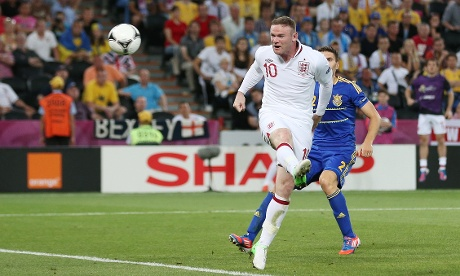 Rooney misses a header against Ukraine