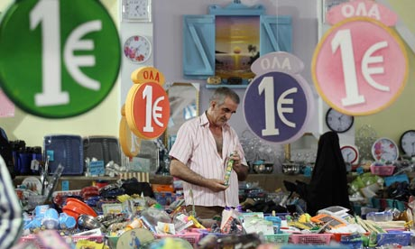 Shopping in a 'one euro' store in Athens, Greece.