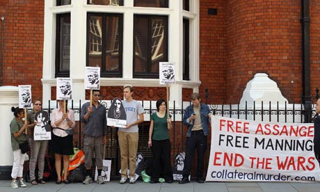 Demonstrators protest outside the Ecuadorian consulate. Julian Assange has sought asylum