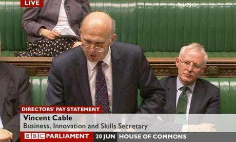Vince Cable making a statement on executive pay.