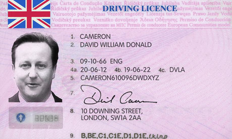 David Cameron spoof driving licence
