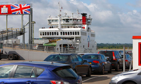 Cars wait to board Isle of Wight ferry