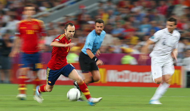 Spain v France 3: Spain's Andres Iniesta in action