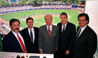 Rupert Murdoch and Chase Carey in 1998, at the LA Dodgers ground