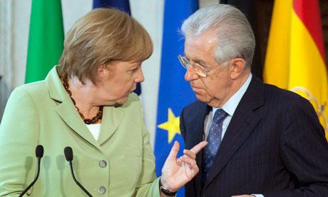 Angela Merkel and Mario Monti at the EU summit