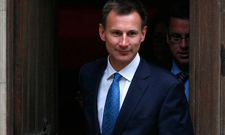 Jeremy Hunt leaving the Royal Courts of Justice after answering questions at the Leveson inquiry