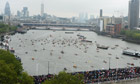 Jubilee: Crowds on bridges as the Thames river Pageant passes