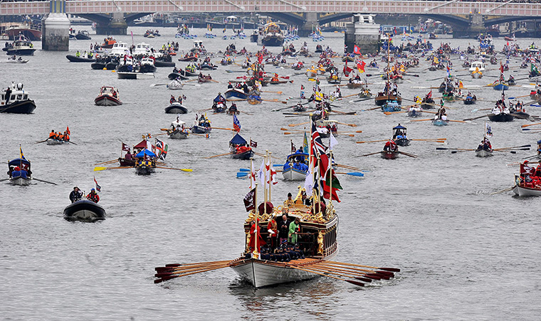 Jubilee Thames pageant: Royal barge Gloriana leading the royal flotilla