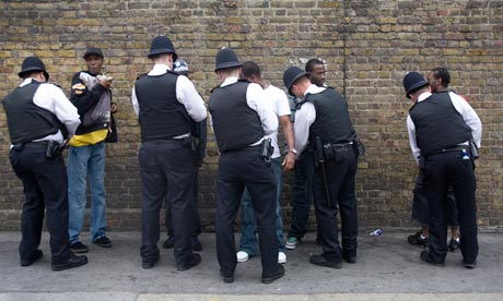 Police stop and search black youths at the entrance to the Notting Hill Carnival in 2008