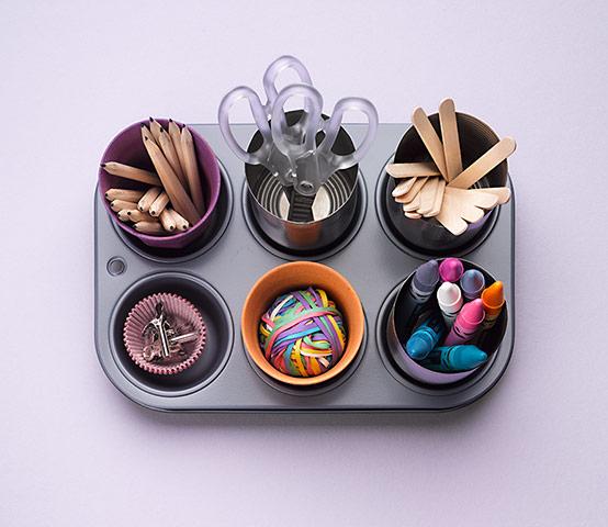 muffin tin art room caddy