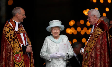 The Queen leaves St Paul's Cathedral following a thanksgiving service to mark her diamond jubilee