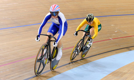 Final of the women's cycling sprint in Beijing, 2008