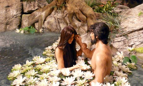 Adam and Eve diorama at the Creation Museum in Kentucky