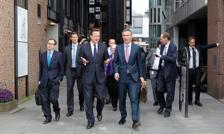 David Cameron and Norwegian prime minister Jens Stoltenberg in Oslo on 7 June 2012.