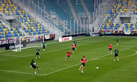 Republic of Ireland players exercise during a training session for Euro 2012 in Gdynia, Poland