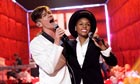 Nate Ruess of Fun and Janelle Monae rehearse for the MTV Movie Awards on 1 June